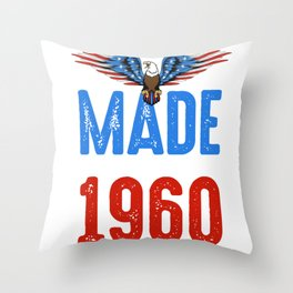 60th Birthday 1960 USA Flag Eagle Patriotic Gift  Throw Pillow