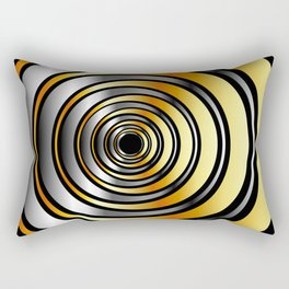 Concentric metallic rings in gold and silver-metallic texture artwork Rectangular Pillow