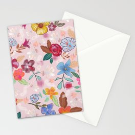 Ethereal flowers dreamy florals colorful cute  hand drawn floral pattern Stationery Cards