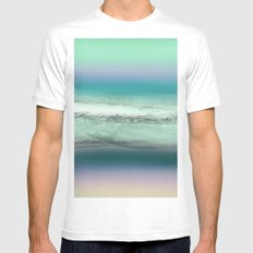 Twilight Sea in Shades of Green and Lavender Mens Fitted Tee MEDIUM White