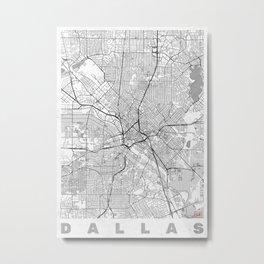 Dallas Map Line Metal Print