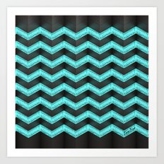 Blue Glitter Chevron. #1 (Free shipping by following the link below) Art Print