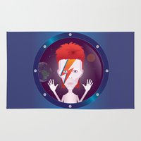 david bowie Area & Throw Rugs featuring Ziggy Stardust, David Bowie by Mr Doodle Illustrations