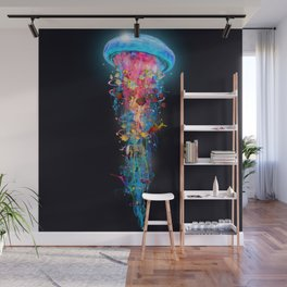 Super Electric Jellyfish Extend Square Wall Mural