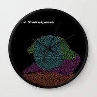 shakespeare Wall Clocks featuring William Shakespeare by Jamie Carroll