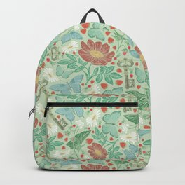 Green and blue butterflies with keys and flowers on light background Backpack