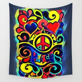 Peace and Love Hippy Art Wall Tapestry
