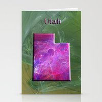 utah Stationery Cards featuring Utah Map by Roger Wedegis