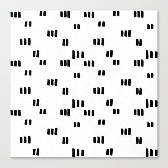 Line Dot Black Paint on Paper Canvas Print
