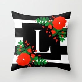 L - Monogram Black and White with Red Flowers Throw Pillow