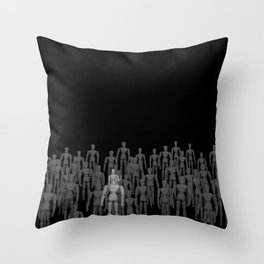 Crowd of Wooden Anatomy Drawing Life Model Dolls Throw Pillow