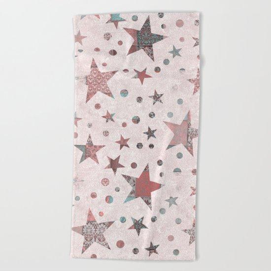 Pink Patchwork Stars Beach Towel