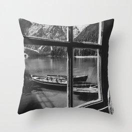 Through the Window (Black and White) Throw Pillow