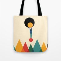 cycle Tote Bags featuring Cycle by Andy Westface