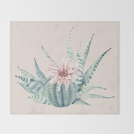 Aloe Cactus Rose Pink Throw Blanket