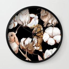 Cotton Flower & Rabbit Pattern on Black 01 Wall Clock