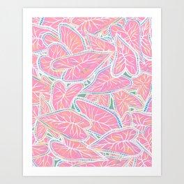 Tropical Caladium Leaves Pattern - Pink Art Print