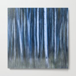 The Night's Forest - Ghostly Blue and White Trees Metal Print
