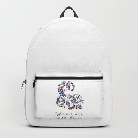 Alice floral designs - Cheshire cat all mad here Backpack