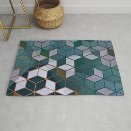 Muted Color Hexagons Blush Blue Mint Pattern Rug