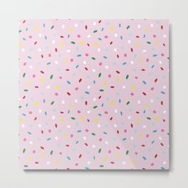 Sweet glazed, with colorful sprinkles on pink melting icing Metal Print