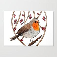 Christmas winter robin Canvas Print