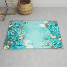 Lacy Background with Turquoise Roses Rug