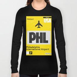 PHL Philadelphia airport code yellow Long Sleeve T-shirt