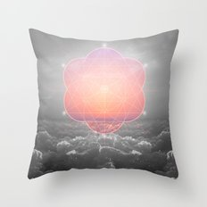 The Sun Is But A Morning Star (Mono Geometric Sunrise) Throw Pillow