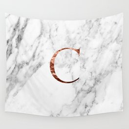 Monogram rose gold marble C Wall Tapestry