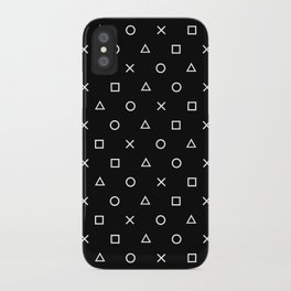 Gamer Pattern (White on Black) iPhone Case