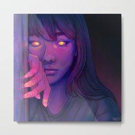 Pensive Glowing Girl Metal Print