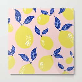 Fruit Print Yellow Lemons with Blue Leaves on Pink Stripes Metal Print