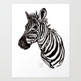 Watercolor Zebra Art Print