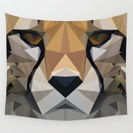 Low Poly Cheetah Wall Tapestry