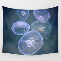 jellyfish Wall Tapestries featuring jellyfish by  Agostino Lo Coco