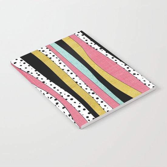 Polka Pink Blue Gold Wavy Stripes Notebook