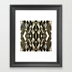 Art Deco Grey Gold Framed Art Print