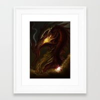 smaug Framed Art Prints featuring Smaug  by Riaz Khan Eusouff