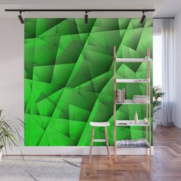 Abstract pattern of green and glowing plates of triangles and irregularly shaped lines. Wall Mural
