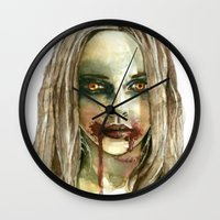 fierce Wall Clocks featuring Fierce by ArtbyLumi