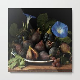 Dutch Masters-Style Still Life Fruit Bowl and Flower Metal Print