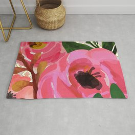 Composition watercolor flowers and rhombuses Rug