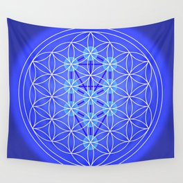 Flower Of Life - Blue Wall Tapestry