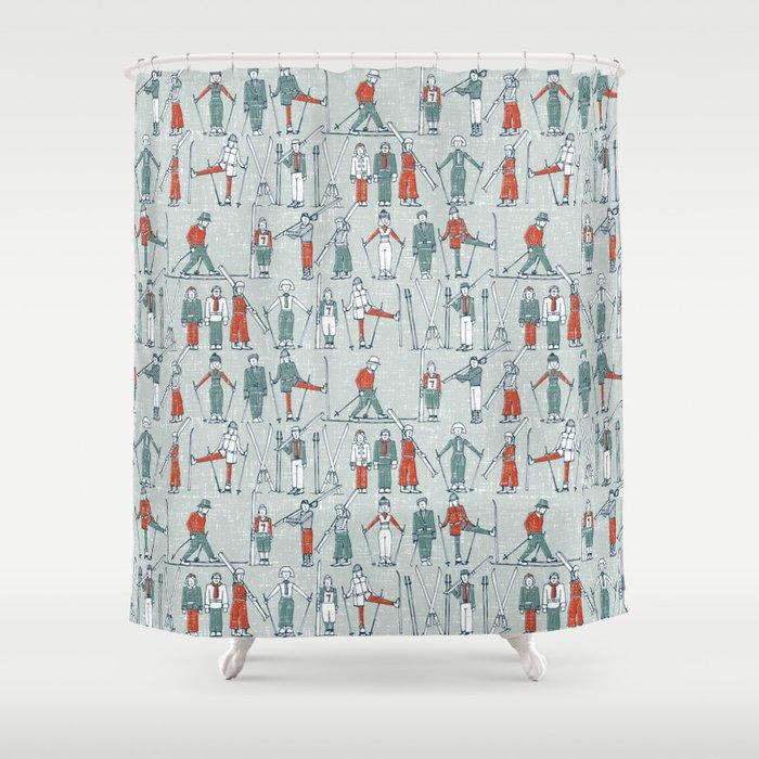 vintage ski linen Shower Curtain by sharonturner | Society6