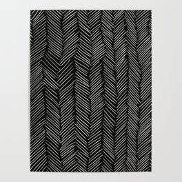 Herringbone Cream on Black Poster
