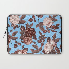 Copper and Blue Vintage Roses on Sky Blue Laptop Sleeve