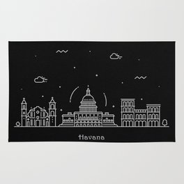 Havana Minimal Nightscape / Skyline Drawing Rug