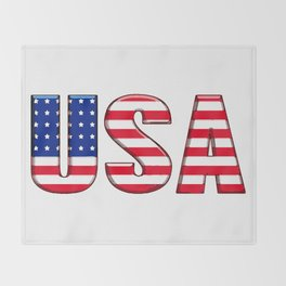 United States Font with American Flag Throw Blanket