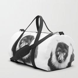 Black and white lemur animal portrait Duffle Bag